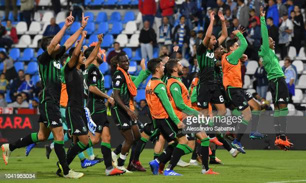 Sassuolo Players celebrate the victory after the serie A match between SPAL and US Sassuolo at Stadio Paolo Mazza on September 27 2018 in Ferrara...