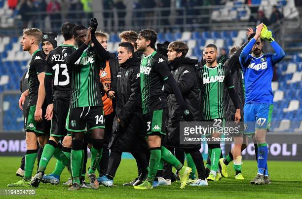 US Sassuolo players celebrate the victory after the Serie A match between US Sassuolo and Torino FC at Mapei Stadium Città  del Tricolore on January...