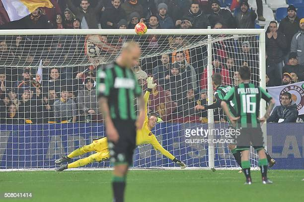 Sassuolo's forward from Italy Domenico Berardi fails to score a penalty kick during the Italian Serie A football match between Sassuolo and AS Roma...