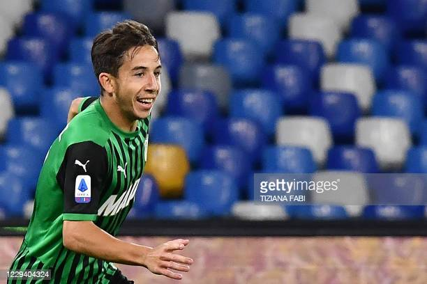 Sassuolo's French midfielder Maxime Lopez celebrates after scoring during the Italian Serie A football match Napoli vs Sassuolo at the San Paolo...
