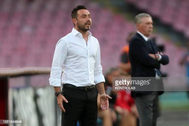STADIUM NAPLES CAMPANIA ITALY Sassuolo's Italian coach Roberto De Zerbi gestures during the Italian Serie A football match SSC Napoli vs US Sassuolo...