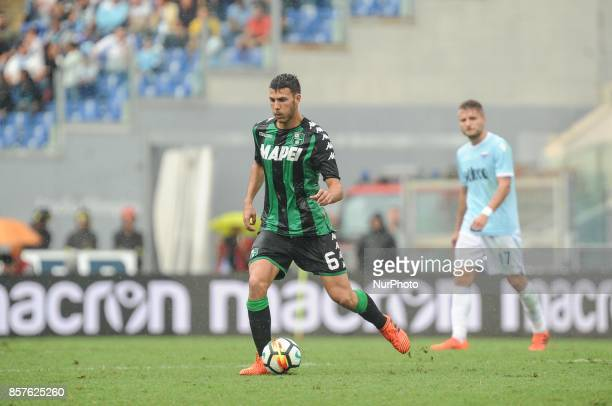 Sassuolo's Italian midfielder Luca Mazzitelli during the Serie A match between SS Lazio and US Sassuolo at Stadio Olimpico on October 1 2017 in Rome...