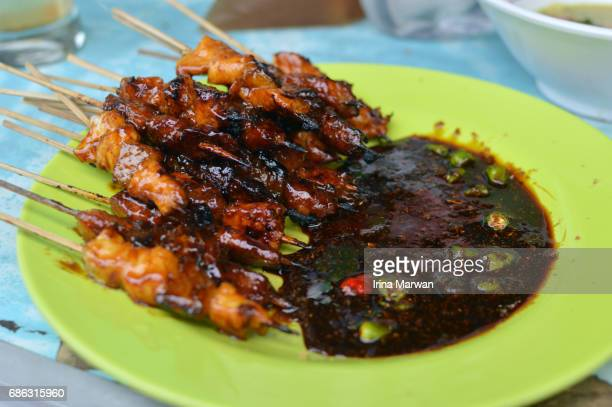 satay or sate with soya sauce - bogor stock pictures, royalty-free photos & images