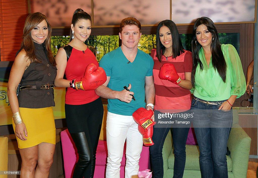 Satcha Pretto, Ana Patricia Gonzalez, Saul 'Canelo' Alvarez, Karla Martinez and Maity Interiano appear on Univision's 'Despierta America' morning show at Univision Headquarters on June 28, 2013 in Miami, Florida.