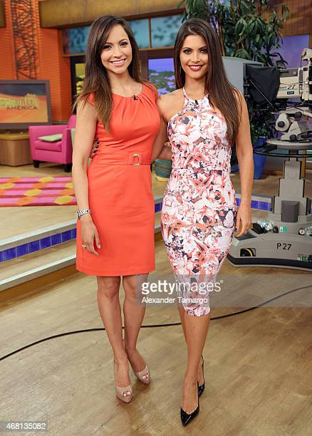 Satcha Pretto and Chiquinquira Delgado are seen on the set of Univision's morning show Despierta America at Univision Studios on March 30 2015 in...