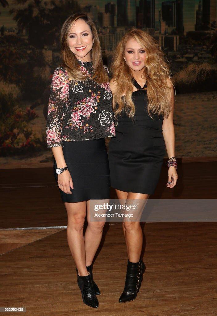 Satcha Pretto and Paulina Rubio are seen on the set of 'Despierta America' at Univision Studios on February 2, 2017 in Miami, Florida.