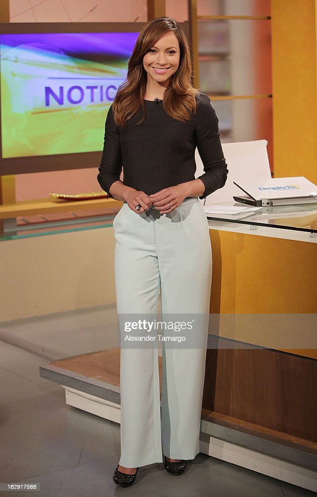 Satcha Pretto celebrates Univision's Tlnovelas cable network first anniversary on Despierta America at Univision Headquarters on March 1, 2013 in Miami, Florida.