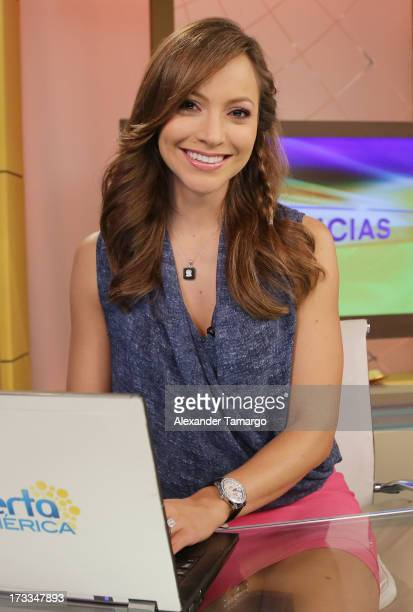 Satcha Pretto is seen during Sesame Street's visit of Univision's 'Despierta America' at Univision Headquarters on July 12 2013 in Miami Florida
