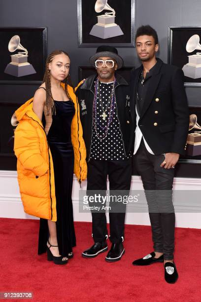 Satchel Lee Spike Lee and Jackson Lee attends the 60th Annual GRAMMY Awards Arrivals at Madison Square Garden on January 28 2018 in New York City