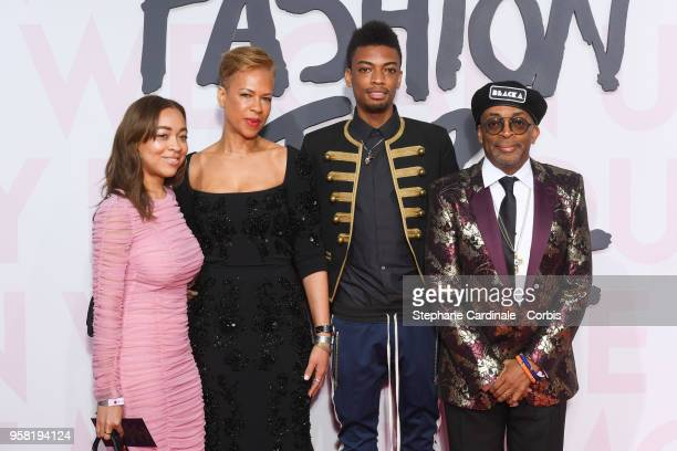 Satchel Lee Tonya Lewis Jackson Lee and Spike Lee attends Fashion For Relief Cannes 2018 during the 71st annual Cannes Film Festival at Aeroport...