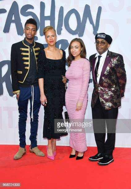 Satchel Lee Tonya Lewis Lee Jackson Lee and Spike Lee attend Fashion For Relief Cannes 2018 during the 71st annual Cannes Film Festival at Aeroport...