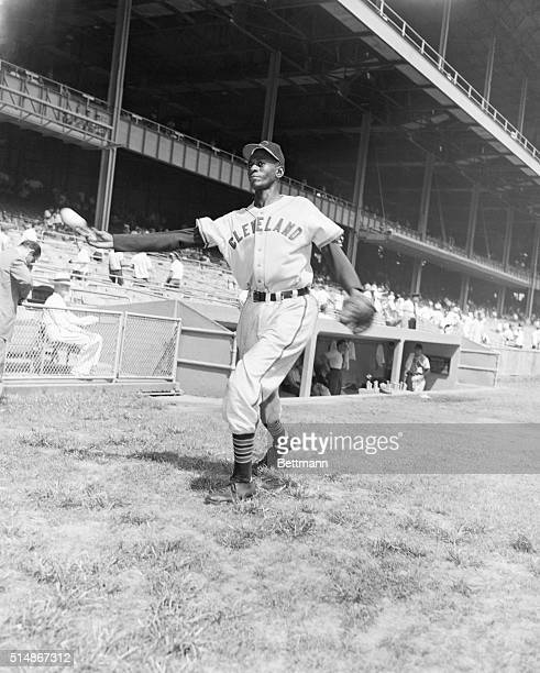 Satchel Paige, Hall of Famer who pitched in the Negro leagues for many years, warms up for the Cleveland Indians.