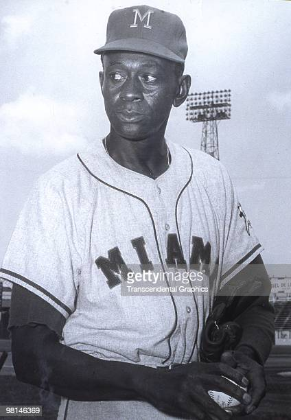 Satchel Paige of the Miami Marlins poses for portrait during a game in 1956.