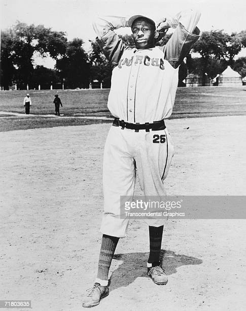 Satchel Paige, pitcher for the Negro League Kansas City Monarchs, poses before a game in 1941.