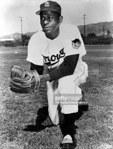 Satchel Paige, pitcher of the St. Louis Browns, poses for a portrait in 1952.