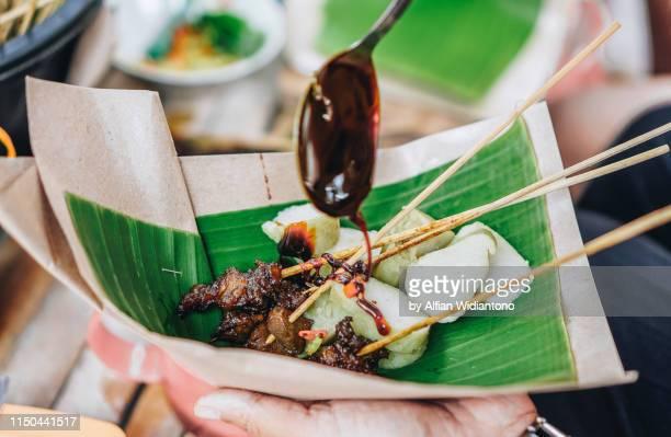 sate ayam, chicken satay - yogyakarta stock pictures, royalty-free photos & images