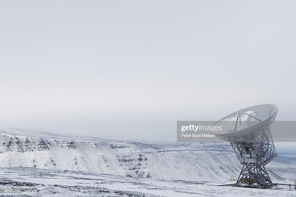 Satelite dish on mountain : Stock Photo
