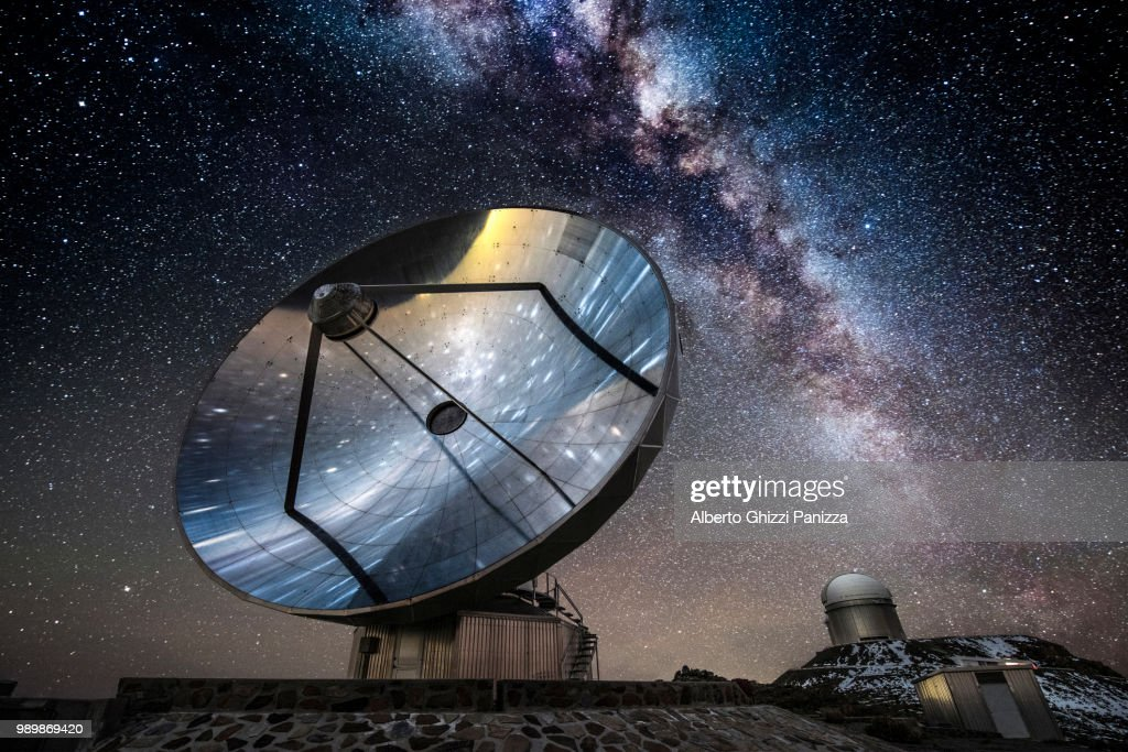 A satellite and telescope under the Milky Way. : Stock Photo