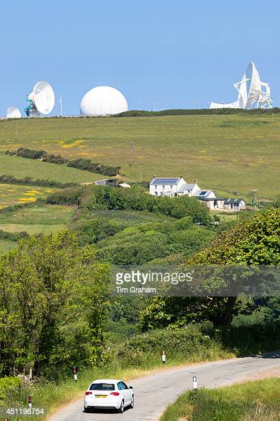 Satellite antenna dish at GCHQ Bude Satellite Listening Station defence at Cleave Camp Cornwall UK#13#10