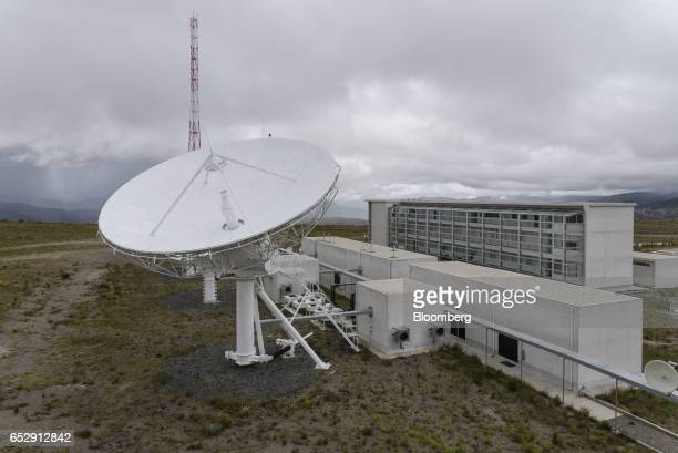 Satellite antenna stands in front of the Bolivian Space Agency Amachuma Ground Station in Achocalla La Paz Department Bolivia on Wednesday March 1...
