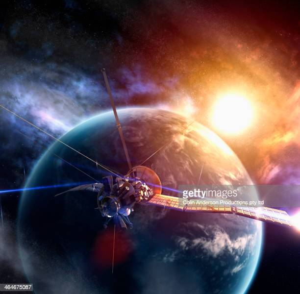 Satellite circling Earth in space