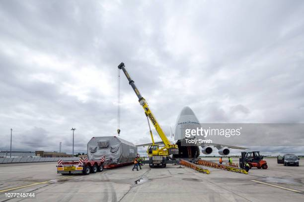 A satellite commissioned by SES and constructed by Astrium is safely stowed in a pressurised shipping container for transport by road and air The...