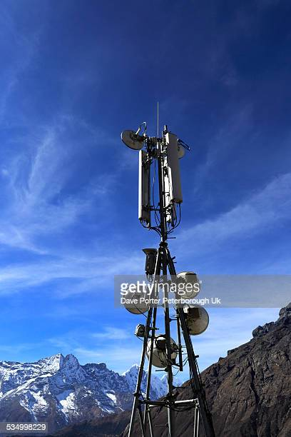 Satellite communication dishes, Tengboche village,