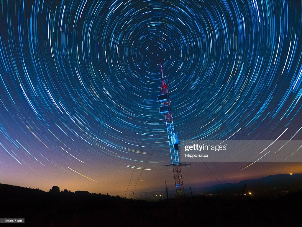 Satellite Communications Under A Starry Sky : Stock Photo
