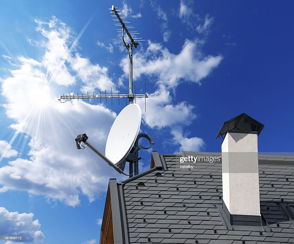 Satellite Dish And Antenna Tv On Blue Sky Stock Photo - Getty Images