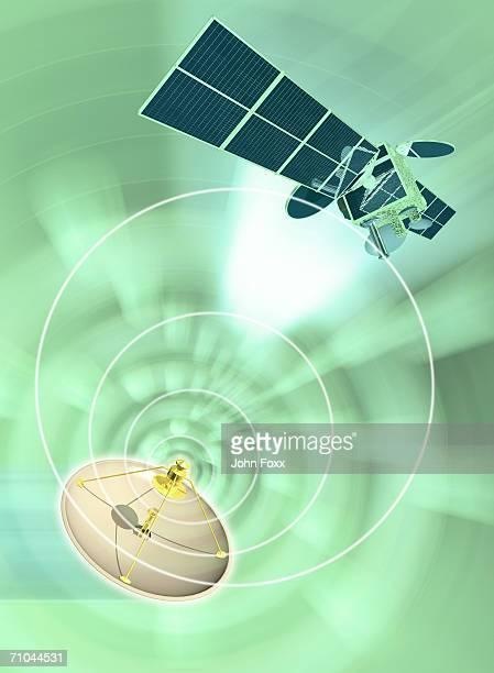 satellite dish emanating radio waves (digital composite) - global radio studios stock photos and pictures