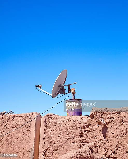 Satellite Dish in Bucket on Mud Wall