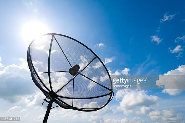 A satellite dish in front of a blue sky