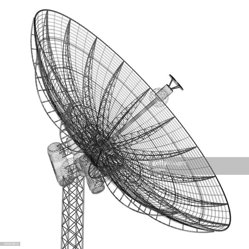 Satellite dish pointing skywards : Stock Photo