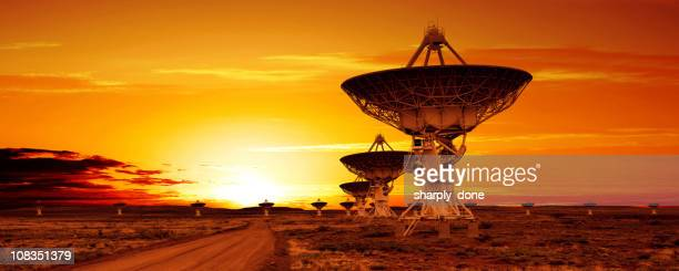 XL satellite dish sunset