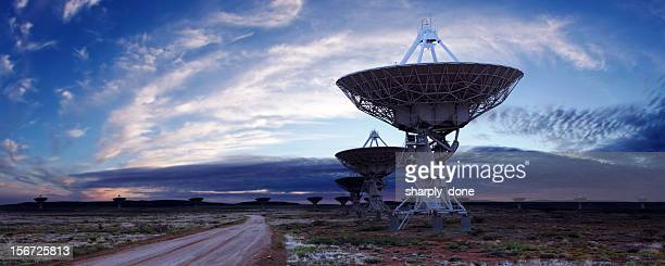 xl satellite dish twilight - receiver stock pictures, royalty-free photos & images