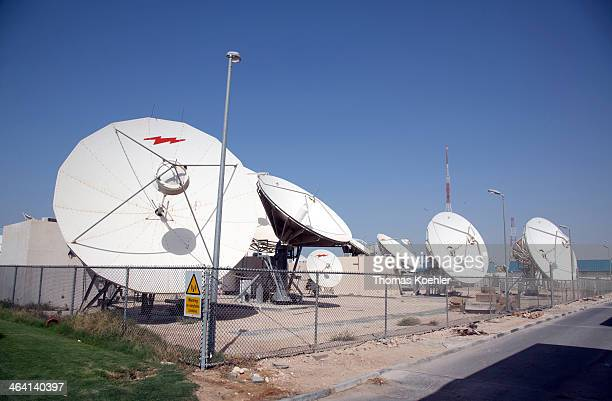 Satellite dishes at the headquarters of the broadcaster Al Jazeera on June 05 in Doha Qatar Photo by Thomas Koehler/Photothek via Getty Images