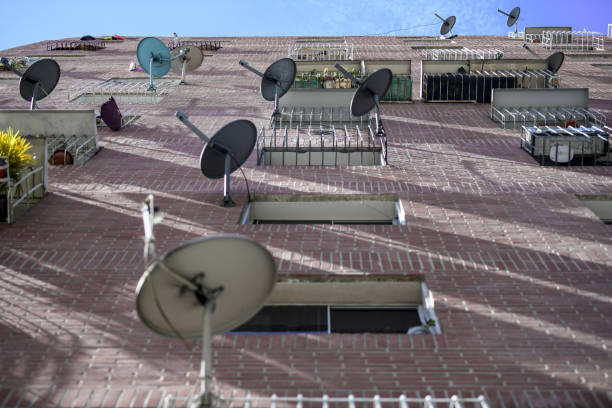 TV Satellite Dishes On A Residential Building