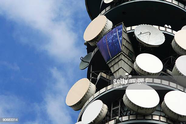 Satellite dishes on top of the BT Tower, London