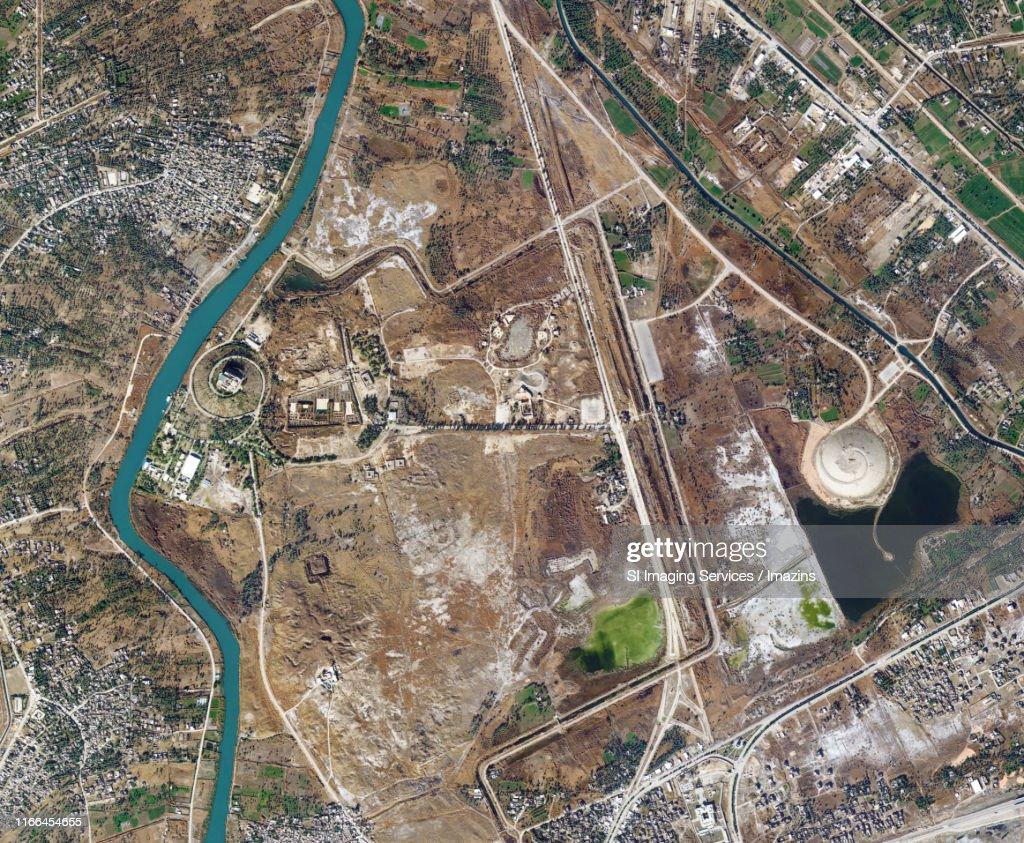 Satellite Image, Hanging Gardens of Babylon, Iraq : Stock Photo