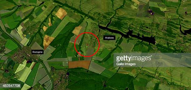 Satellite image is of the MH17 Malaysian Airlines passenger plane that was shot down last week on July 21 2014 in Donetsk Ukraine This is a Shortwave...