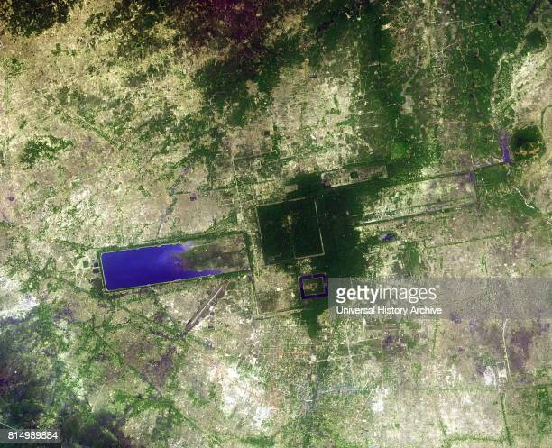 Satellite image of Angkor Wat temple complex in Cambodia is the largest religious monument in the world, with the site measuring 162.6 hectares . It...