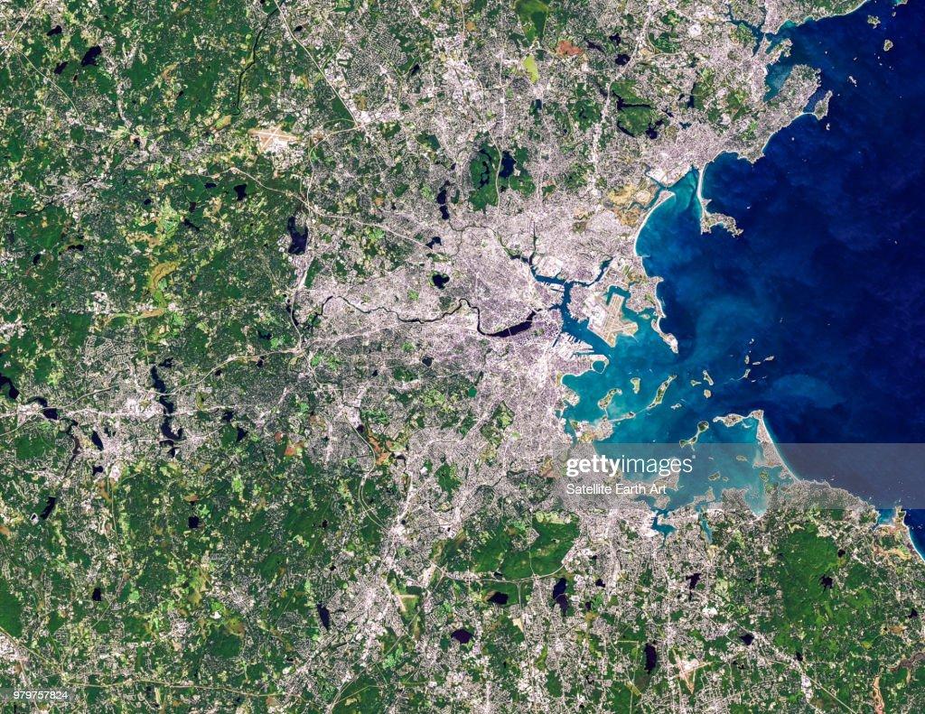 Satellite image of Boston, Massachusetts, USA : Stock Photo