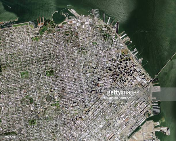 satellite image of downtown district, san francisco, california, usa - satellite view stock pictures, royalty-free photos & images