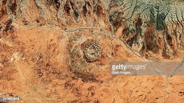 A satellite image of Gosses Bluff Crater on April 6 2016 located near the centre of Australia 175km west of Alice Springs The crater is believed to...