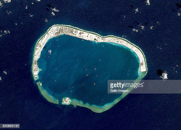 A satellite image of Mischief Reef located in the Spratly Islands in the South China Sea on February 18 2016