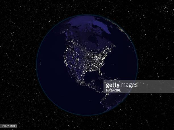 Satellite image of North America
