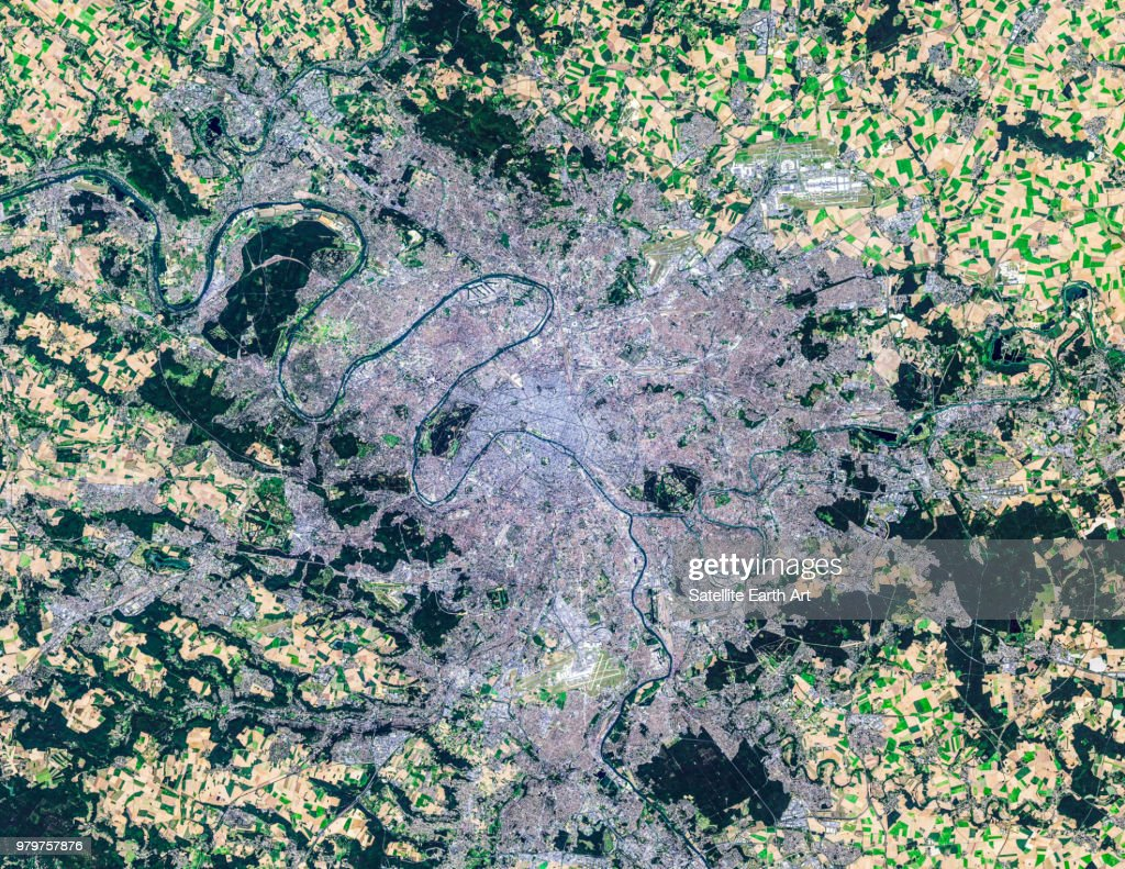 Satellite image of Paris, France : Stock Photo