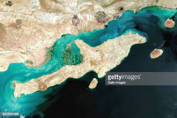 Satellite image of Qeshm Island recognised as a UNESCO World Heritage site located just off the southern coast of Iran in the Strait of Hormuz Imaged...