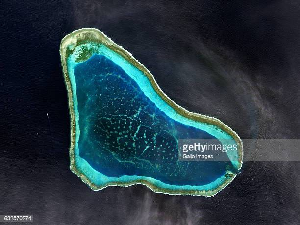 Satellite image of Scarborough Shoal in the South China Sea known for its rich fishing grounds on 12 January 2017