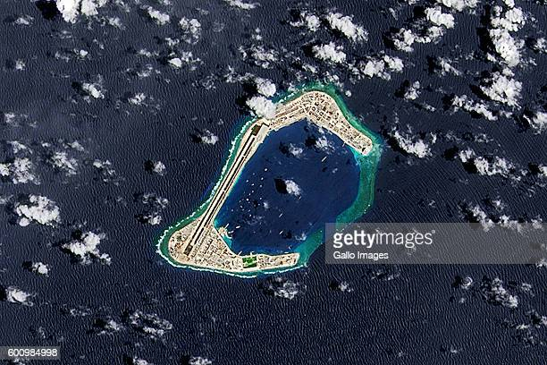 A satellite image of Subi Reef an artificial island being developed by China in the Spratly Islands in the South China Sea Image taken 4 September...